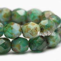 6mm Faceted Round Firepolished Bead Sea Green with Picasso Finish