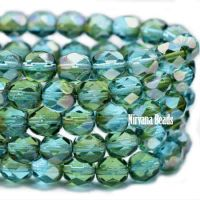 6mm Faceted Round Firepolished Bead Blue Green and Pale Olive with Luster Finish