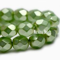 6mm Faceted Round Firepolished Bead Pistachio