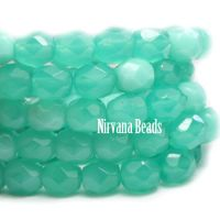 6mm Faceted Round Firepolished Bead Sea Green