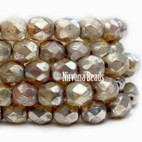 6mm Faceted Round Firepolished Bead Champagne with Heavy Picasso Finish