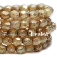 6mm Faceted Round Firepolished Bead Champagne with Picasso Finish
