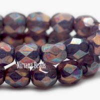 6mm Faceted Round Firepolished Bead Purple Pansy with Mother Of Pearl Finish