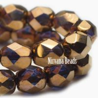 6mm Faceted Round Firepolished Bead Bronze with Violet Shimmer
