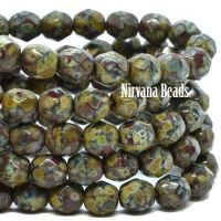 6mm Faceted Round Firepolished Bead Maroon with a Yellow Picasso Finish