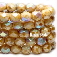 6mm Faceted Round Firepolished Bead Honey with AB Finish