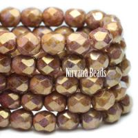 6mm Faceted Round Firepolished Bead Hyacinth with Yellow Gold Finish