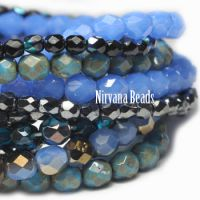 MIX Loose Strands Faceted Round FP Beads - Blue & Black