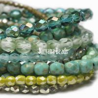 MIX Loose Strands Faceted Round FP Beads - Turquoise, Green
