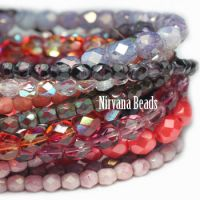 MIX Loose Strands Faceted Round FP Beads - Purple, Pink, Red