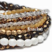 MIX Loose Strands Faceted Round FP Beads - Brown, White, Yellow