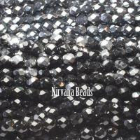 RANDOM HANKS 6mm Faceted Round FP Beads - Black, Gray