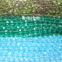 RANDOM HANKS 6mm Faceted Round FP Beads - Blue, green
