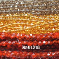 RANDOM HANKS 6mm Faceted Round FP Beads - Orange, Amber, Brown