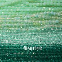 RANDOM HANKS 3mm Faceted Round FP Beads - Green, Aqua