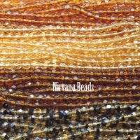 RANDOM HANKS 3mm Faceted Round FP Beads - Amber, Brown