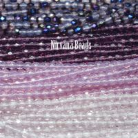 RANDOM HANKS 3mm Faceted Round FP Beads - Purple, Amethyst
