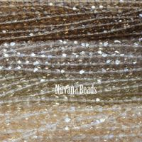 RANDOM HANKS 3mm Faceted Round FP Beads - Brown, beige