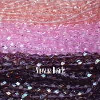 RANDOM HANKS 5mm Faceted Round FP Beads - Pink, Purple