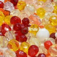 MIX Loose Beads - Fire Polished Beads - Red, Orange, Yellow