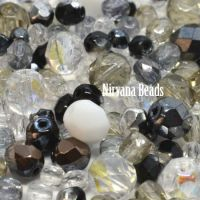 MIX Loose Beads - Fire Polished Beads - Black, Grey, White
