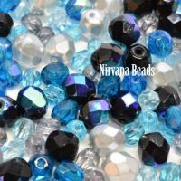 MIX Loose Beads - Fire Polished Beads - Blue and Black