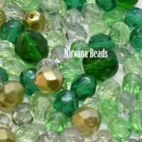 MIX Loose Beads - Fire Polished Beads - Green