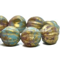 10mm Melon Teal Blue and Dusty Rose with a Gold Finish