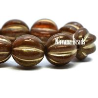 10mm Melon Alloy Orange with Golden Luster and Wash