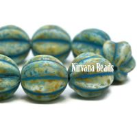 12mm Melon Turquoise and Honey with Turquoise Wash