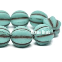 12mm Melon Matte Sea Green with Brown Wash