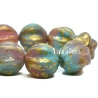 12mm Melon Teal Blue and Dusty Rose with a Gold Finish