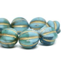 12mm Melon Sea Green, Teal, Green, and Sky Blue with a Gold Wash