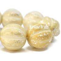 14mm Melon Yellow Ivory with Mercury Finish