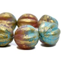 14mm Melon Teal Blue and Dusty Rose with a Gold Finish