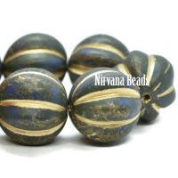 14mm Melon Dark Army Green with and Etched and Picasso Finish and Gold Wash