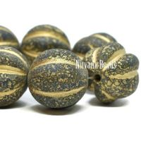 14mm Melon Army Green with An Etched and Picasso Finish and Gold Wash