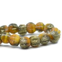 3mm Melon Dandelion and Yellow Gold with a Etched and Gold Finishes