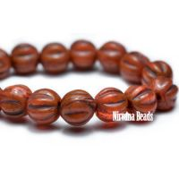 4mm Melon Alloy Orange with Brown Wash