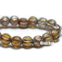 4mm Melon Amber with Mercury Finish