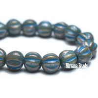 4mm Melon Metallic Grey with a Turquoise Wash