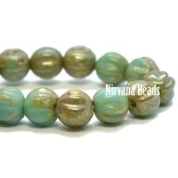 4mm Melon Blue Turquoise with Picasso Finish