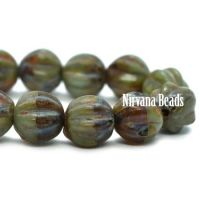 6mm Melon Brown and Sage with Picasso Finish and Coral Wash