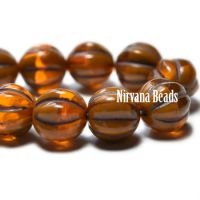 8mm Melon Alloy Orange and Pumpkin with Brown Wash