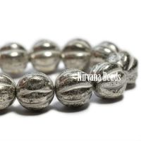 8mm Melon Antique Silver with a White Wash
