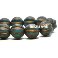 8mm Melon Blue Green with Gold Wash and Etched Finish