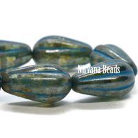 8x15mm Melon Drop Teal with a Picasso Finish and Turquoise Wash