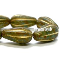 8x15mm Melon Drop Olive with a Picasso Finish and Gold Wash