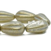 8x15mm Melon Drop Pale Yellow with a Mercury Finish and a Grey Wash