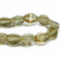 5mm Pinch Bead Pale Olive with Mercury Finish